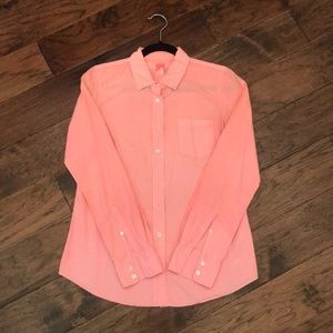 J.Crew bright coral button-up blouse!
